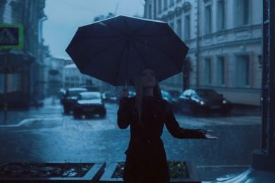 Deszcz w mieście.